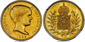 Pedro II gold 10000 Reis 1835 AU58 NGC, Rio de Janeiro mint, KM451, LMB-0617. Only very briefly circulated, as evident by the degree of strength shown...