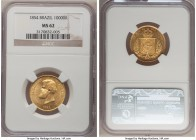 Pedro II gold 10000 Reis 1854 MS62 NGC, KM467. Full mint brilliance with minimal contact marks and a heavily re-cut date. From the Grand Castello Coll...