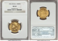 Pedro II gold 10000 Reis 1856 MS64 NGC, Rio de Janeiro, KM467. A piece which in all respects edges on gem, the reverse fields chocked with die polish ...