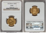 Pedro II gold 10000 Reis 1858 XF45 NGC,  KM467. A pleasing example with clean surfaces for a gold issue of this grade. From the Grand Castello Collect...