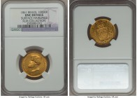 Pedro II gold 10000 Reis 1861 UNC Details (Surface Hairlines) NGC, KM467, Russo-650. A flashy, attractively toned example with light, minimally distra...