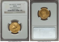 Pedro II gold 10000 Reis 1863 AU55 NGC, KM467, Russo-651, AU55 NGC. A lightly circulated yellow-gold example with one abrasion worthy of mention on th...