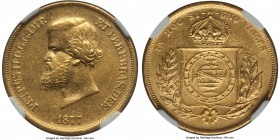 Pedro II gold 10000 Reis 1877 AU55 NGC, KM467, Russo-661. The reverse detail remains essentially full with some minor softening of Pedro's beard and h...