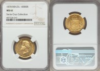 Pedro II gold 10000 Reis 1878 MS61 NGC, KM467. A well preserved representation, crisp definition, and a pleasing golden glow. Ex. Santa Cruz Collectio...