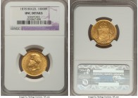 Pedro II gold 10000 Reis 1878 UNC Details (Scratches), KM467. A brilliant specimen whose noted scratches are so minor that they hardly detract from th...