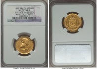 Pedro II gold 10000 Reis 1879 AU Details (Surface Hairlines) NGC, KM467, Russo-663. Hairlines are not immediately evident, but the surface have clearl...