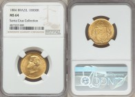Pedro II gold 10000 Reis 1884 MS64 NGC, KM467. A shimmering near gem of a high caliber of quality. Ex. Santa Cruz Collection  HID99912102018