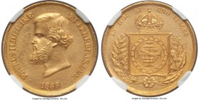 Pedro II gold 10000 Reis 1888 AU58 NGC, KM467. Lightly toned and original, with a boldly detailed strike. A very scarce date. From the Grand Castello ...