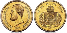 Pedro II gold 20000 Reis 1851 MS62 PCGS, KM463. A few scattered hairlines but overall quite nice for the type.   HID99912102018