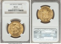 Pedro II gold 20000 Reis 1855 MS63 NGC, Rio de Janeiro mint, KM468. A most impressive, honey-gold rendering of this popular type, fully appealing so c...