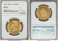 Pedro II gold 20000 Reis 1857 MS63 NGC, Rio de Janeiro mint, KM468. Fully choice and lacking the usual softness seen in the emperor's hair, with fully...