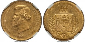 Pedro II gold 20000 Reis 1859 AU58, KM468. Lightly handling with scattered contact marks and residual satiny luster clinging to the protected regions ...