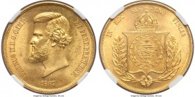 Pedro II gold 20000 Reis 1867 MS63 NGC, KM468. A choice specimen demonstrating full mint brilliance with remarkably blemish-free surfaces. A premium c...