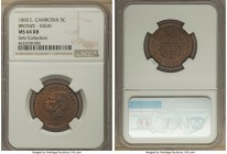 Norodom I bronze Essai 5 Centimes 1860 MS64 Red and Brown NGC, KMX-E1. A lovely and scarcely encountered essai issue, choice surfaces, with an overly ...