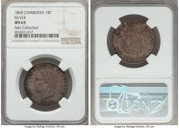 Norodom I silver Essai 10 Centimes 1860 MS63 NGC, KMX-E3a. Reported Mintage: 110. A very rare and extremely popular essai design, reported by the SCWC...