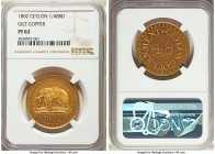 British Colony gilt copper Proof 1/48 Rixdollar 1802 PR62 NGC, KM75. A highly sought-after type featuring the preeminent Ceylonese elephant motif.  HI...