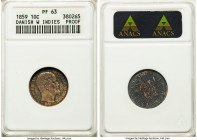 Danish Colony. Frederik VII Proof 10 Cents 1859 PR63 ANACS, KM66. A great conditional rarity in proof--the SCWC reporting a mintage of only 10 in proo...