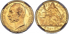 Danish Colony. Christian IX gold 4 Daler (20 Francs) 1904-(Heart) MS64 NGC, Copenhagen mint, KM72. Highly lustrous and problem-free.   HID99912102018