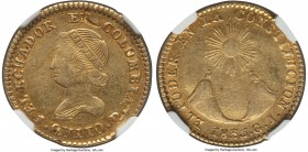 Republic gold 2 Escudos 1835-GJ XF45 NGC, Quito mint, KM16. A commendable circulated example with nearly full device outlines and an appealing amber t...