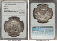 Republic 5 Francos 1858 QUITO-GJ AU53 NGC, Quito mint, KM39. Highly attractive for the assigned grade, this scarce one-year type comes coveted in unim...