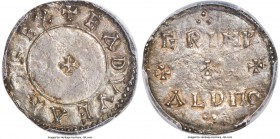 Kings of Wessex. Edward the Elder (899-924) Penny ND AU55 PCGS, No mint, Grimald as moneyer, Two-Line type, S-1087, N-649. +EADVVEARD REX, small cross...