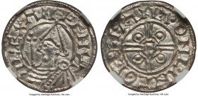 Kings of All England. Cnut (1016-1035) Penny ND (1024-1030) MS64 NGC, Lincoln mint, Mana as moneyer, 1.05g, S-1158, North-787. +CNVT / R.EX AN, bust l...