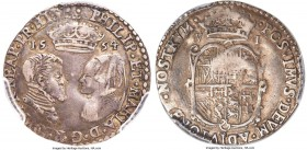 Philip II of Spain & Mary I (1554-1558) 6 Pence 1554 VF35 PCGS, London mint, without mm, S-2505. A great rarity within the short-lived reign of these ...