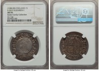 Elizabeth I (1558-1603) Shilling ND (1584-1586) AU55 NGC, Tower mint, Escallop mm, Sixth Issue, Bust 6B, 6.11gm, S-2577. The top pop for the type with...