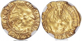 Elizabeth I (1558-1603) gold 1/4 Angel ND (1578-1579) VF35 NGC, Tower mint, Greek Cross mm, 5th Issue, 1.25gm, S-2528, N-2007 (R). A rare gold fractio...