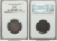 Charles II 6 Pence ND (1660-1662) AU50 NGC, Tower mint, Crown mm, Third Issue, KM404, ESC-316 (prev. 1510). Exceptionally well-preserved, the flan onl...