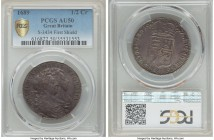 William & Mary 1/2 Crown 1689 AU50 PCGS, KM472.1, S-3434. The highly desirable first year of issue for this type celebrating the accession of the new ...