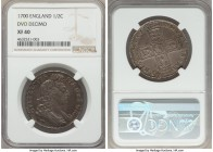 William III 1/2 Crown 1700 XF40 NGC, KM492.2, S-3494. DVO DECIMO edge. Expressing rather light wear evenly distributed across argent surfaces, the fin...