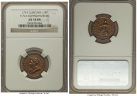 Anne copper Pattern Farthing 1714 AU58 Brown NGC, KM537, Peck-741. Expressing a splendid high relief never seen in Anne's circulation coinage (a circu...