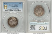 Anne Shilling 1708 MS64+ PCGS, KM523.1, S-3610. Third Bust. So nearly gem for an emission of Anne to make even the scrupulous stop and stare, the pres...