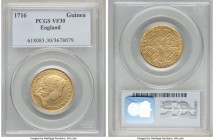 George I gold Guinea 1716 VF30 PCGS, KM546.1. Rather weakly struck towards the centers, though with very little blending together of the details of th...