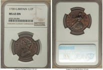 George II 1/2 Penny 1738 MS63 Brown NGC, KM566. A commendably presentable choice specimen, the fields virtually free of marks and surprisingly reddene...