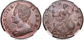 George II 1/2 Penny 1749 MS64 Red and Brown NGC, KM579.2, S-3719. Outranked by only 2 pieces (one at NGC and one at PCGS) both grading just a single p...