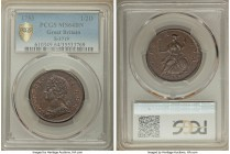 George II 1/2 Penny 1753 MS64 Brown PCGS, KM579.2, S-3719. A usually well-circulated type seen here in pinpoint precision with cupric-red elements and...
