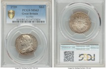 George II Shilling 1739 MS63 PCGS, KM561.4, S-3701. Perfectly watery in the outer registers with remarkably clean fields and just the lightest touch o...