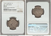 "George II Shilling 1747 MS65 NGC, KM583.1, ESC-1209. A lightly toned gem example of this ""Roses"" type. Softly struck in areas, though highly attractiv..."