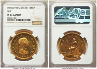 George III gilt-copper Proof Penny 1806-SOHO PR63 Cameo NGC, Soho mint, KM663b. A coin with an incredibly high reflectivity that catches even the silh...