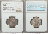 George III Shilling 1787 MS62 NGC, KM607.2. Variety with hearts in the Hanoverian shield. Highly lustrous and nearly choice. From the Butler Family Co...