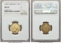 George III gold 1/2 Guinea 1787 MS62 NGC, KM608, S-3735. Impressively flashy with pinpoint precise execution and a reverse clearly struck from a highl...