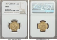 George III gold 1/2 Guinea 1797 AU58 NGC, KM608. Exquisite detail is preserved in the king's portrait and the curls of his wig, satiny finish througho...