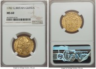 George III gold Guinea 1782 MS60 NGC, KM604, S-3728. Bright lemon-gold with fully Mint State details and only the faintest wisps of handling that prov...