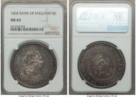 George III Bank Dollar of 5 Shillings 1804 MS63 NGC, KM-Tn1. A remarkable issue revealing surprisingly few signs of its undertype and a flashy, watery...