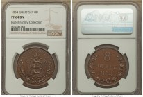 British Dependency Proof 8 Doubles 1834 PR64 Brown NGC, KM3a. Razor-sharp, with the flan a mix between milk-chocolate and mahogany, the contrast of th...
