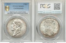 Johann II 5 Kronen 1915 MS65+ PCGS, KM-Y4. An absolute gem, currently the finest certified by either NGC or PCGS, the fields silky with the lightest t...
