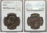 Johann II 5 Franken 1924 MS64 NGC, KM-Y10, Dav-217. Originally minted to an already small figure of just 15,000, approximately 11,260 were later melte...