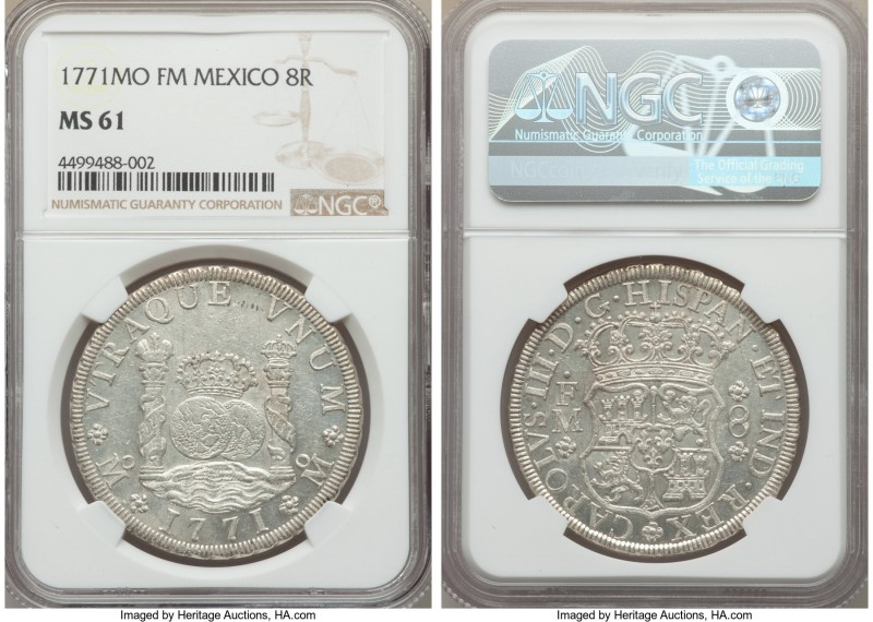 Charles III 8 Reales 1771 Mo-FM MS61 NGC, Mexico City mint, KM105. With only sca...